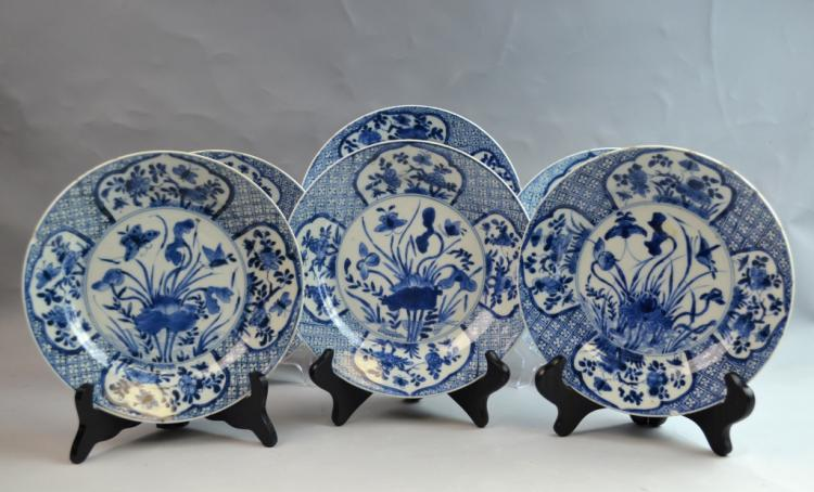 6 Chinese Export Blue and White Diner Plates