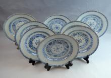 8 Pieces Chinese Export B&W Porcelain Soup Plates