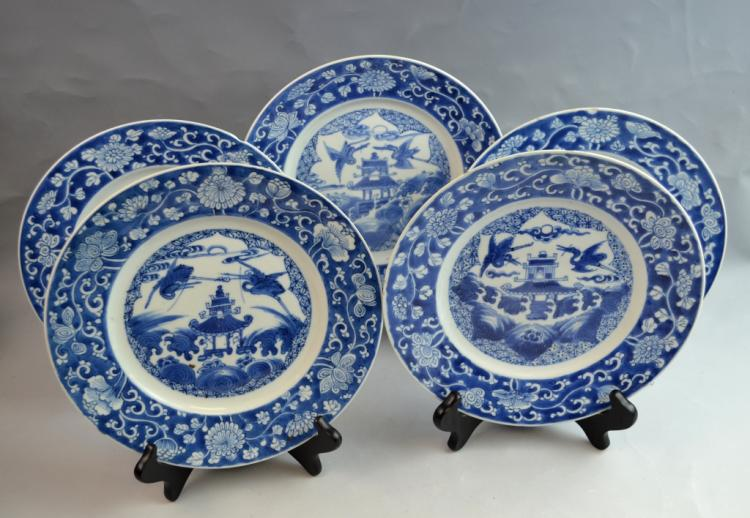 5 Pieces Chinese Export Large Pagoda Plates