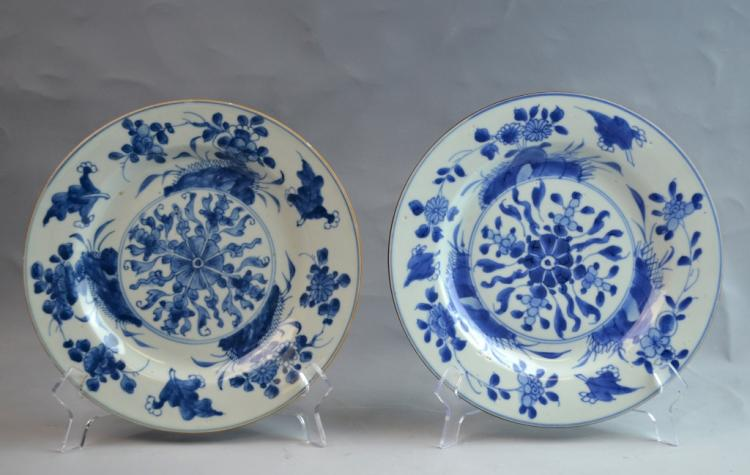 Pair of Chinese Export Plates with Flowers
