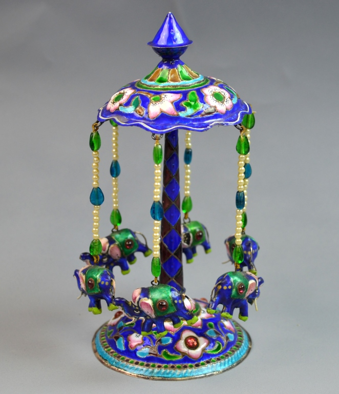 Indian Silver & Enamel Centerpiece