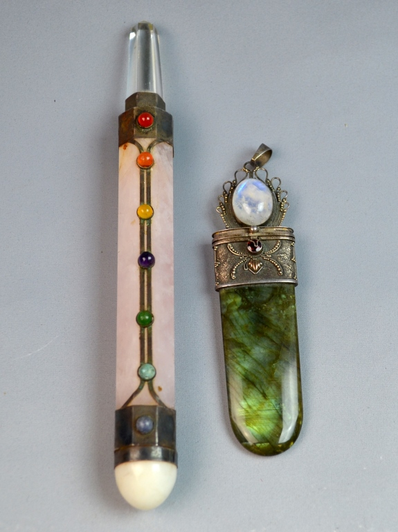 2 Pieces Silver Mounted Stone