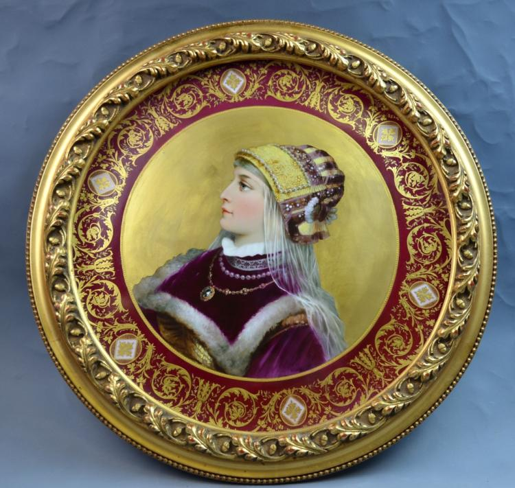 Vienna Porcelain Plaque of a Lady Portrait