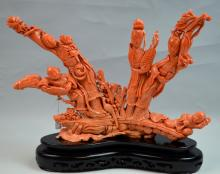 Chinese Coral Carved Group Figure on Wood Base