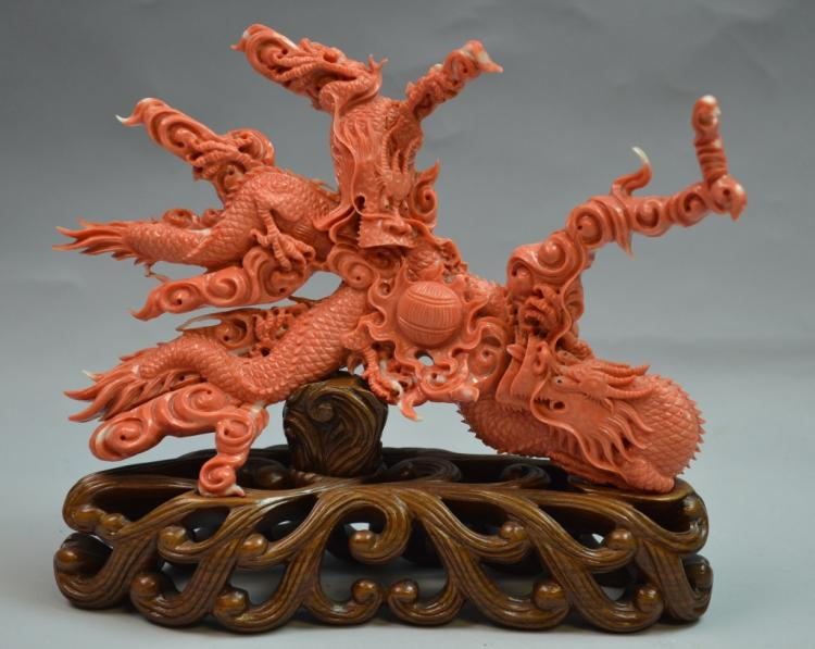 Chinese Coral Carved Figure of Dragon Chasing Ball