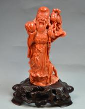 Chinese Coral Carved Longevity Man Holding a Peach