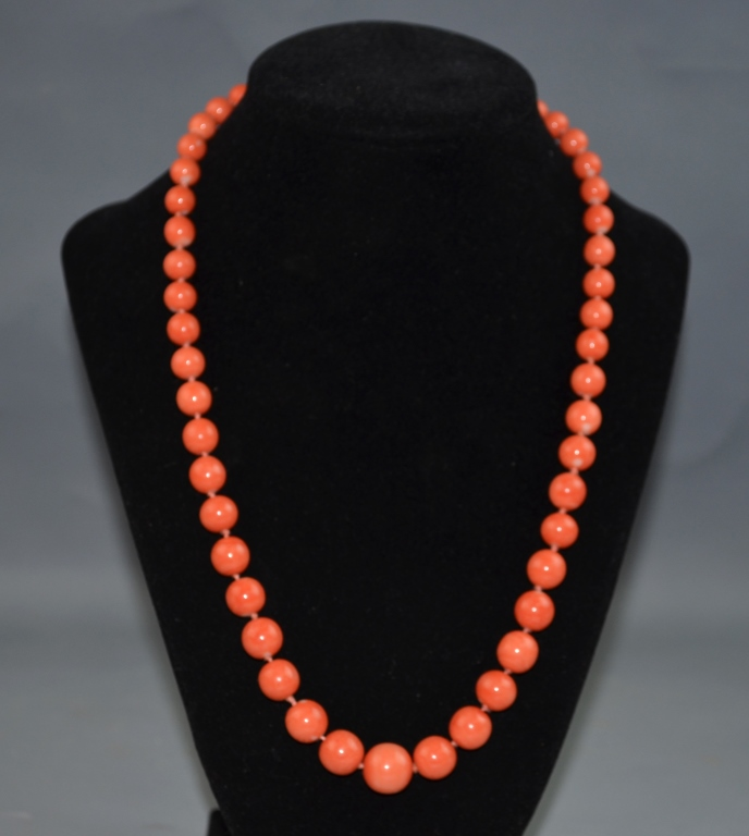 Coral Necklace with Gold Clasp