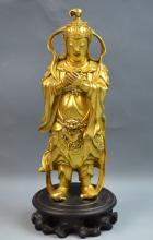 Chinese Bronze Gilt Heavenly King Statue