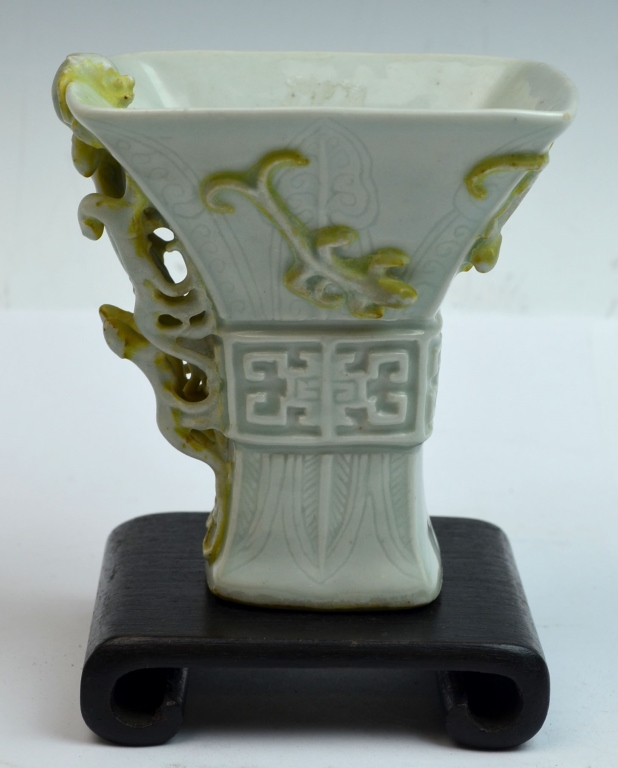 Chinese Douqing Glazed chilong Stem Cup