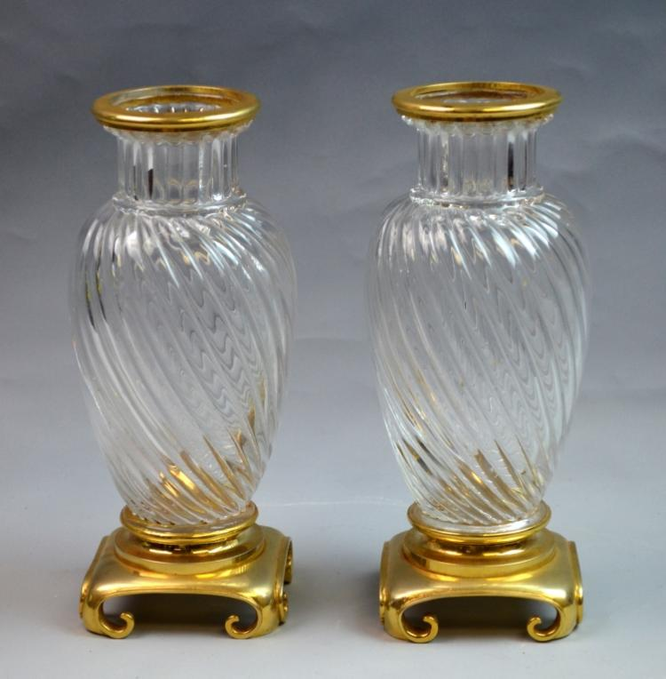 Pr. of French Bronze & Crystal Vase Baccarat