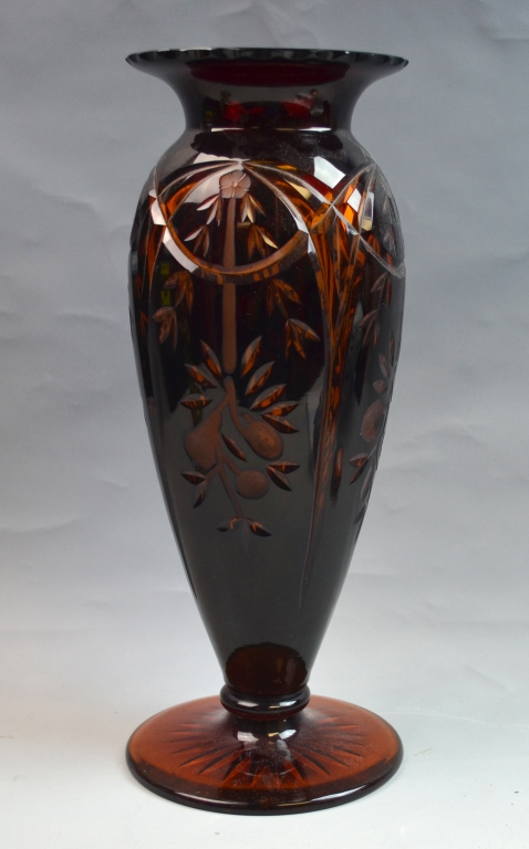 Hand Cut Overlay Red Over Amber Vase