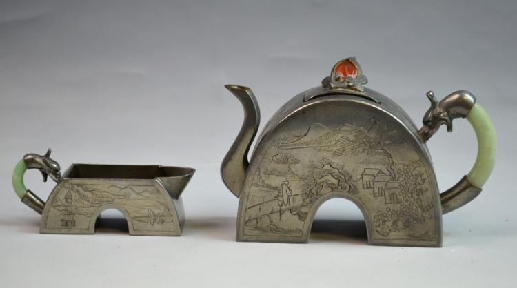 Two Chinese Tin Tea Pots
