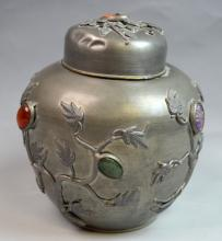 Chinese Tin Jar with Inlaid Stone with Cover