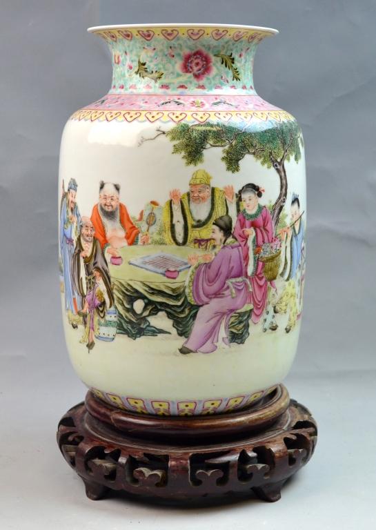 Chinese Famille Rose Porcelain Vase Eight Immortal