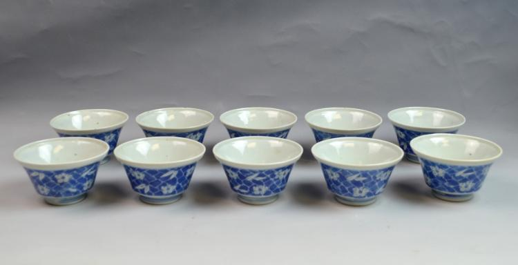 10 Pieces Chinese Blue and White Porcelain Cups