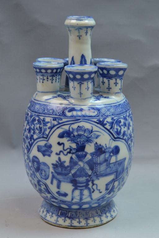 Chinese Blue and White Seven Mouth Porcelain Vase