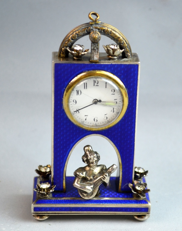 19th C. French Silver & Enamel Miniature Watch