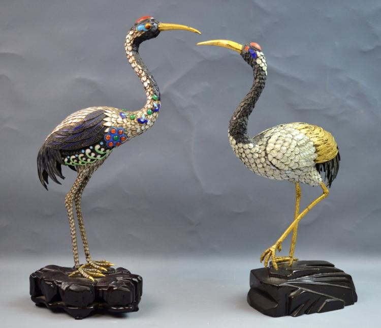 Pair of Silver & Enamel Statue of Crane on Wood
