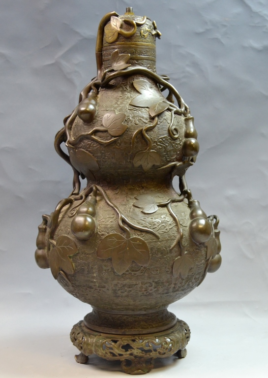 Chinese Double Gourd Bronze Vase Lamp