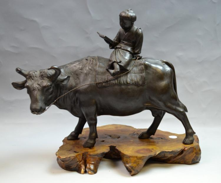 Japanese Bronze Figure of Boy on Bull on Wood Base