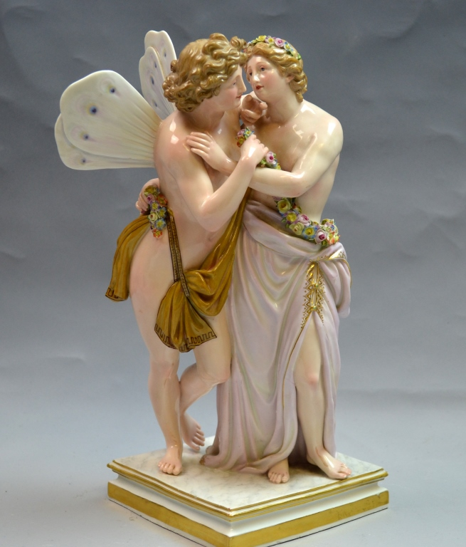 Large Meissen Double Figure of Bsyke