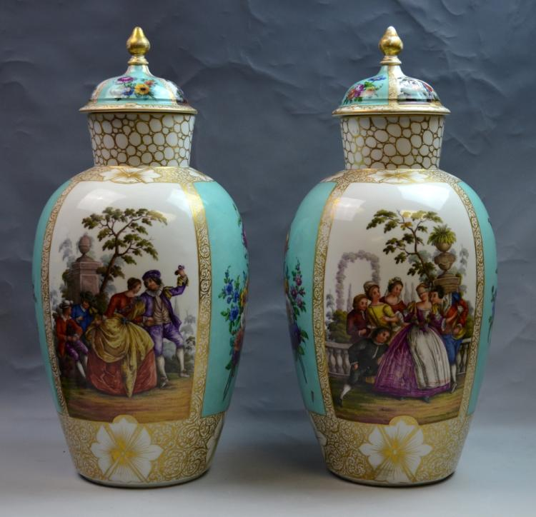 Pair of Large Dresden Hand Painted Vases