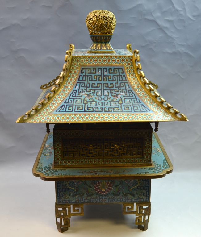 Chinese Cloisonne Censer in Pagoda Shape