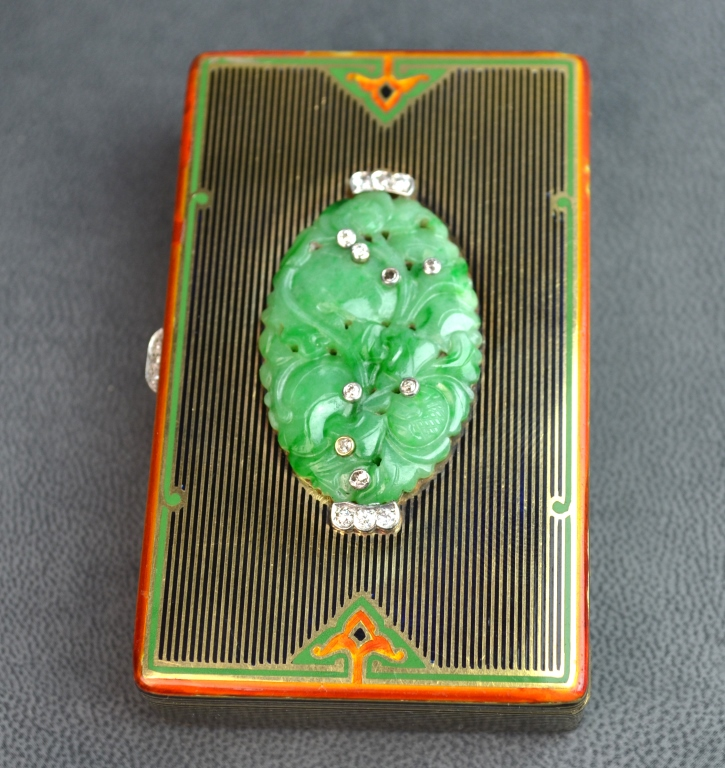 Cartier Art Deco Gold & Enamel Jade Vanity Case