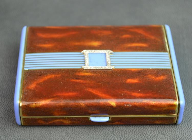 Art Deco Enamel & Gold Vanity Case