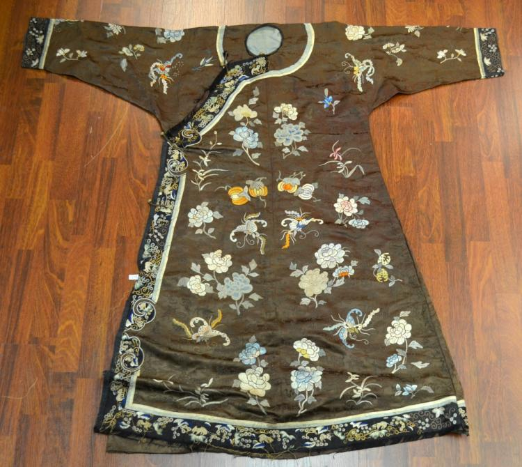 Chinese Embroidery Robe in Brown Color