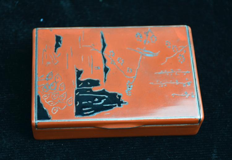 Art Deco Gold & Enamel Cigarette Vanity Case