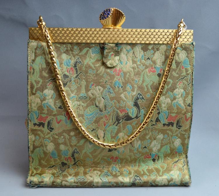 Cartier Gold&Turquoise Evening Bag Sapphire Clasp