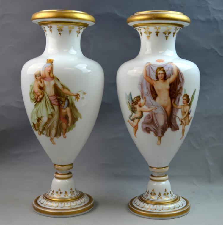 Pr. Baccarat Opaline Hand Painted Glass Vases
