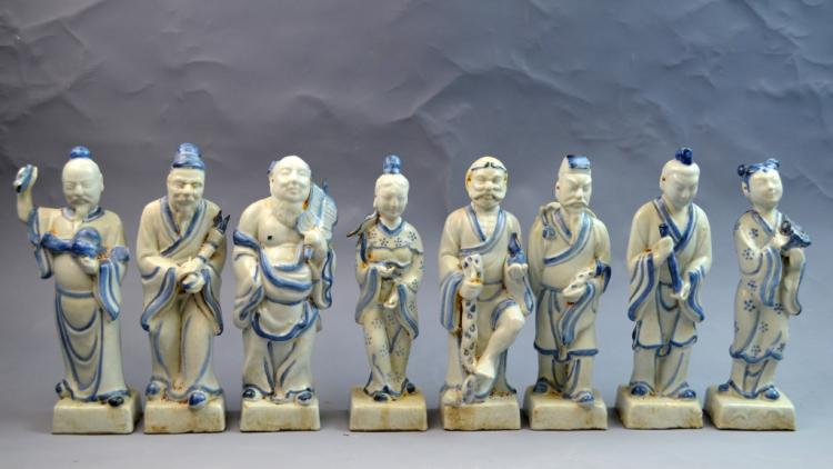 Chinese Blue and White Porcelain 8 Immortal Figure