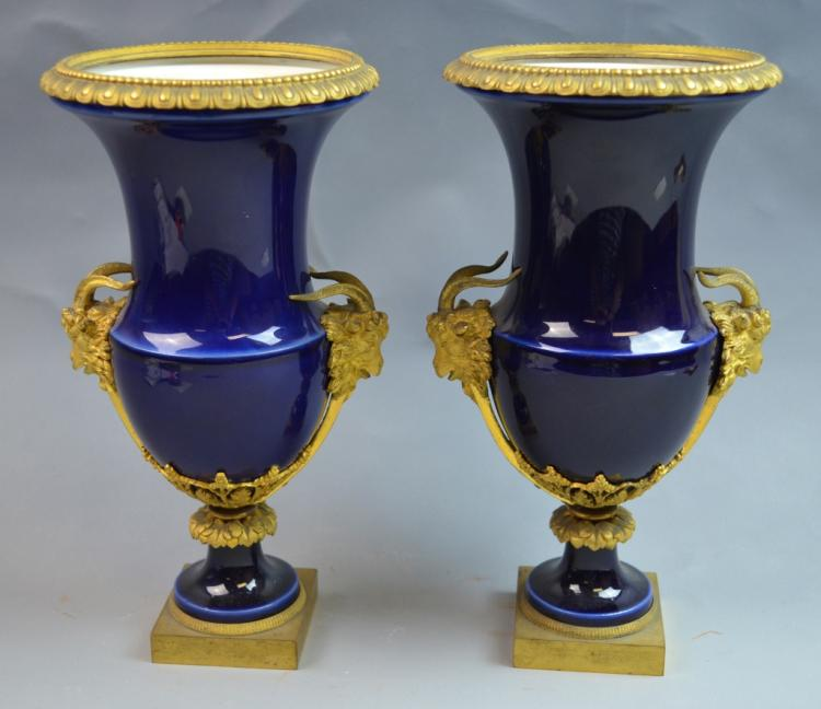 Pair of 19th Century Sevres Bronze Mounted Vases