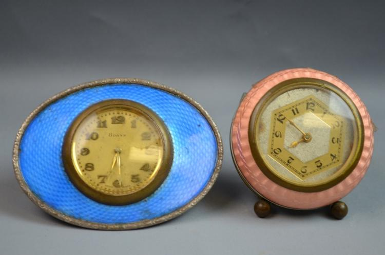 Art Deco Silver & Enamel Clock