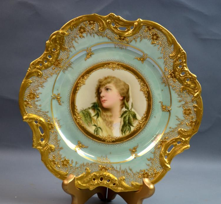 Vienna Porcelain Plate of a Lady's Portrait