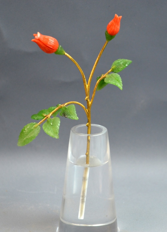 Fabergé-style Jade Hand Stone Crystal Flower Vase