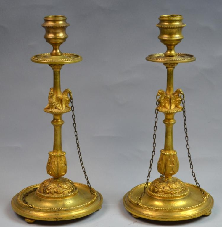 Pr. of Russian 19th C. Bronze Candle Stick