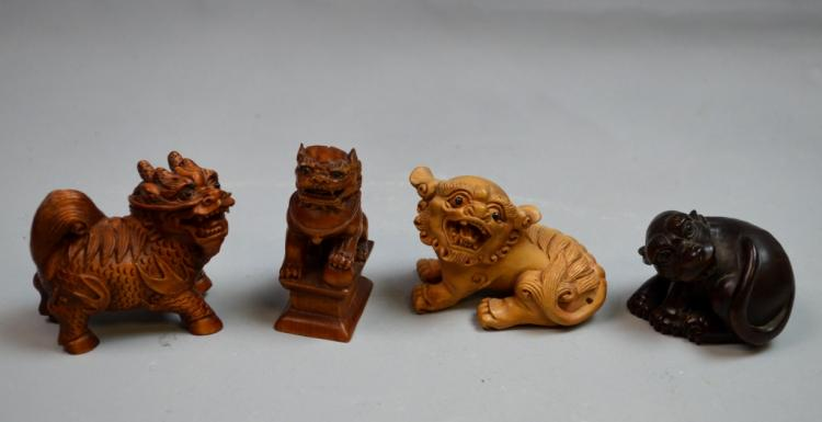 4 Wood Carved Asian Foo Dogs