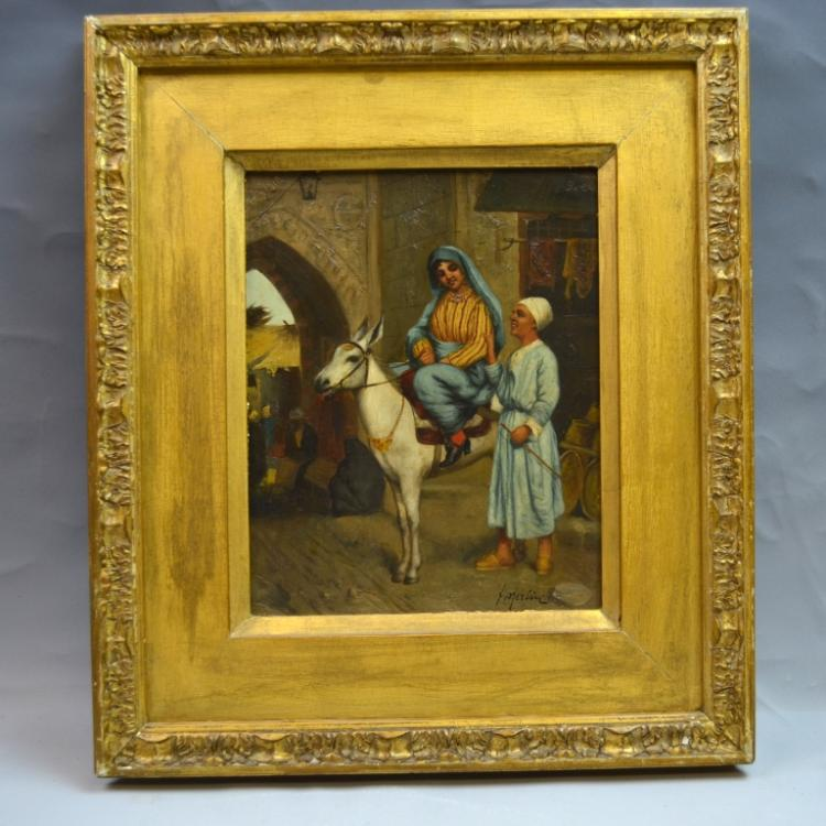Orientalist Painting Lady on Donkey