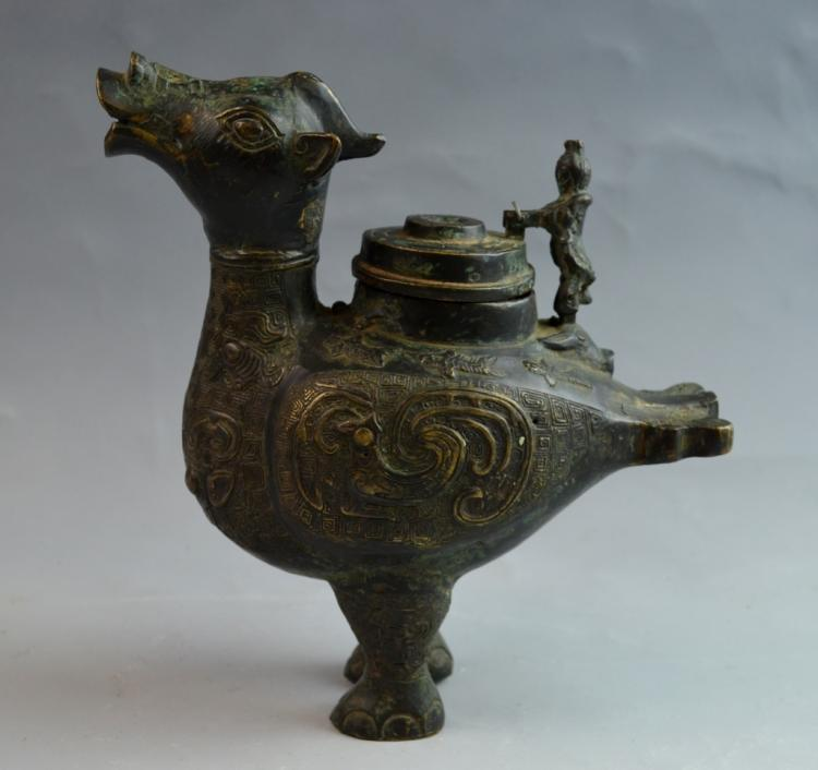 Chinese 18-19th Century Bronze Hen