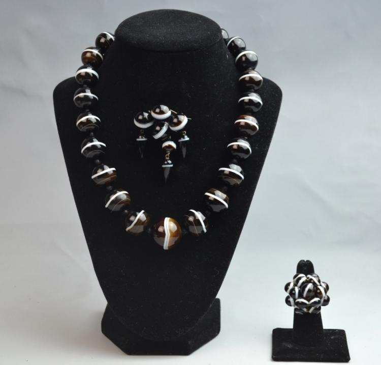 Victoria Banded Agate Necklace and Brooch and Ring