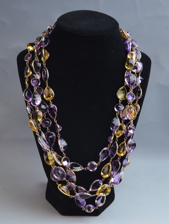 Citrine & Amethyst Gold Long Chain Necklace