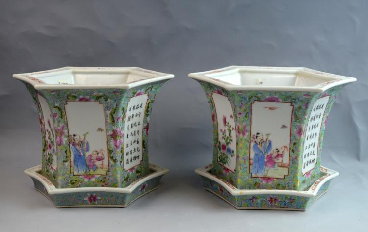 Pr. Chinese Famille Rose Porcelain Planter w/ Base