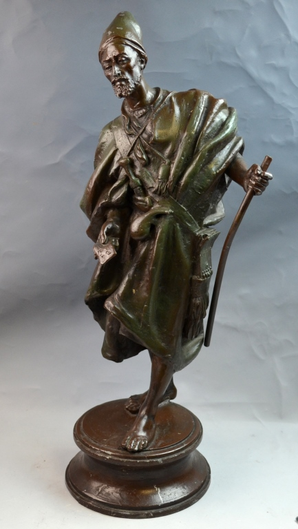 French Polychrome Metal sculpture of Arab Musician