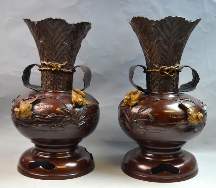 Pair of Japanese Bronze Vases with Handles