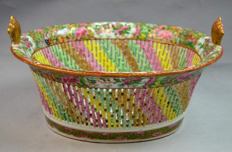 19th Century Porcelain Basket
