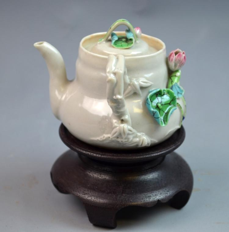 Chinese Famille Rose Porcelain Tea Pot w/ Lotus