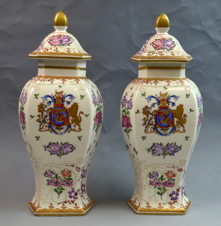 Pair of Sam Porcelain Vases with Lids